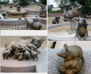 фонтан свиней